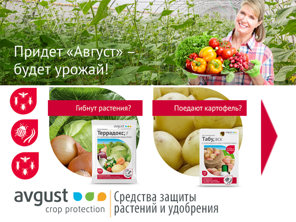 Средства защиты растений и удобрения AVGUST